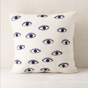 Embroidered Eyes Throw Pillow